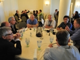 the scene during the luncheon roundtables at realscreen's factual entertainment forum in santa monica.