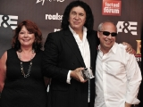 realscreen publisher claire macdonald, fef hall of fame inductee gene simmons and a&e president/gm bob debitetto at the realscreen factual entertainment awards in santa monica, june 2011.