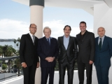 FremantleMedia Enterprises' David Ellender, Sir David Frost, director Oliver Stone, FremantleMedia Enterprises' Jeff Tahler and producer Fernando Sulichin on hand to preview Stone's Secret History of America (photo courtesy FremantleMedia Enterprises)