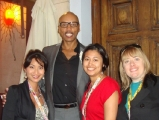 realscreen's kerry laifatt, kelly anderson and melissa giddens with rupaul (second from left)