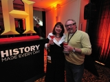 Realscreen Summit: History Opening Night party. Pictured are Realscreen publisher Claire Macdonald and Original Productions' Thom Beers