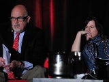 CABLEready president Gary Lico and National Geographic Channel development/production SVP Bridget Whalen Hunnicutt watch pitch clips