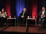 """Erin McPherson from Yahoo! with filmmaker Morgan Spurlock and Jeffrey Tahler, SVP acquisitions and development for FremantleMedia Enterprises, during """"Super Size Your Show"""" at Realscreen West."""