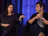 "SallyAnn Salsano, president of 495 Productions, and Arthur Smith, CEO of A. Smith & Co. Productions, offer tips on ""Playing the Field"" at Realscreen West 2012. (Photo: Rahoul Ghose)"