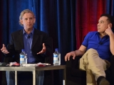 "Michael Branton, GRB Entertainment's EVP of creative affairs, and Sam Zoda, COO of ITV Studios America, take part in ""Extreme Budget Makeover"" at Realscreen West 2012. (Photo: Rahoul Ghose)"