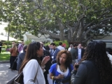 Delegates network by the iconic fig tree at the Fairmont Miramar in Santa Monica during the A+E Networks cocktail at Realscreen West 2012. (Photo: Rahoul Ghose)