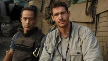 Sebastian Junger (left) with Tim Hetherington in Afghanistan