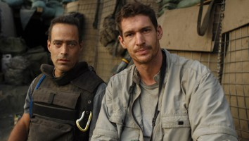 Sebastian Junger (left) with Tim Hetherington in Afghanistan