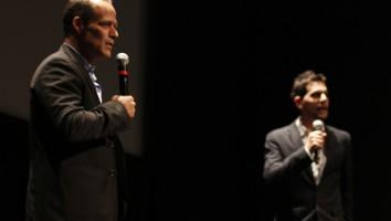 Sebastian Junger (left) in conversation with Realscreen's Adam Benzine during Hot Docs. Photo (c) David Spowart
