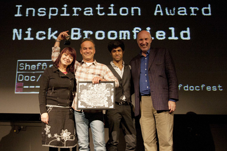 Nick Broomfield (second from left) accepting the Inspiration Award at Sheffield Doc/Fest