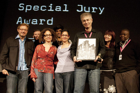 Steve James (third from right) accepting the Special Jury Award at Sheffield Doc/Fest