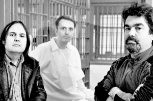 Paradise Lost 3 directors Bruce Sinofsky (left) and Joe Berlinger (right), with Damien Echols (center)