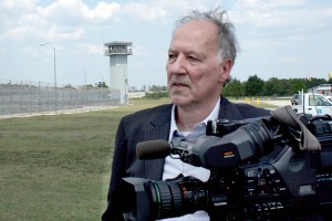 """Werner Herzog at the Polunsky Unit in Texas, during filming of """"Into The Abyss"""""""