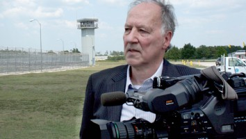 "Werner Herzog at the Polunsky Unit in Texas, during filming of ""Into The Abyss"""
