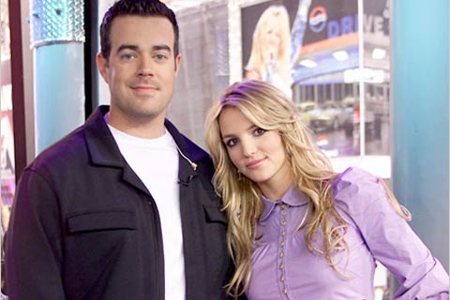 """""""TRL"""" host Carson Daly and Britney Spears. Photo: MTV"""