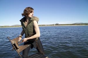 Emily hoists The ClarkÕs anchor.