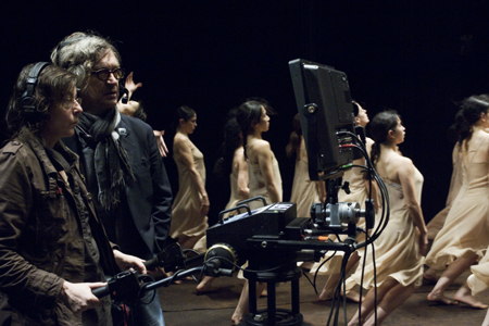 Wim Wenders during the shooting of Pina 3D