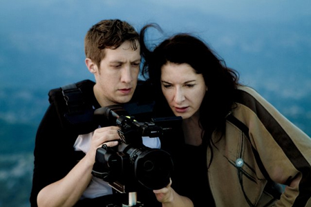 """Director Matthew Akers (left) and artist Marina Abramovic during the filming of """"The Artists is Present"""""""