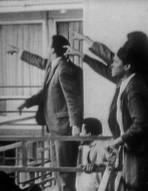 Martin Luther King Jr's lieutenants pointing on the balcony of the Lorraine Motel in Memphis