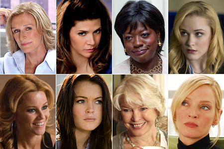 "Actors starring in ""Love, Marilyn"" include (clockwise from top-left) Glenn Close, Marisa Tomei, Viola Davis, Rachel Evan Wood, Uma Thurman, Ellen Burstyn, Lindsay Lohan and Elizabeth Banks."