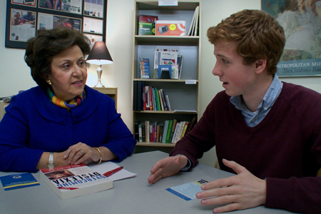 """Dr. Sally Shaywit (left) and Dylan Redford in """"The Big Picture: Rethinking Dyslexia"""". Photo: HBO"""