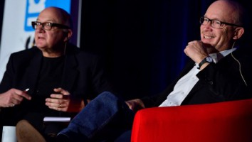 Nick Fraser (left) in conversation with Alex Gibney. Photo by Rahoul Ghose