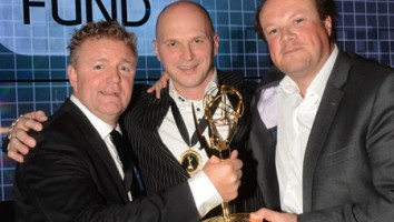 Digital Emmy Award winners Rene Mioch (FCCE), Justus Verkerk (FCCE), Mirko Mensink (Ziggo)(Photo: D'HALLOY / IMAGE & CO)