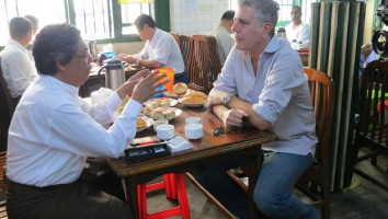 """Anthony Bourdain (right) in """"Parts Unknown"""""""