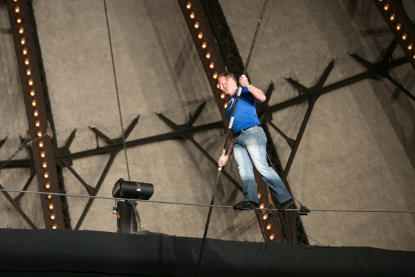 Nik Wallenda performs at Discovery Communication's 2013/14 Upfront in NYC