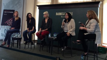 The 'New Chick Flicks' panel session at Tribeca 2013. L-R: Libby Geist, Rachel Boynton, Laura Goode, Tanya Ager Meillier, Abigail Disney
