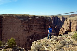 Nik Wallenda looks over the Grand Canyon before attempting to cross for Discovery Channel's Skywire Live With Nik Wallenda on Sunday, June 23, 2013.