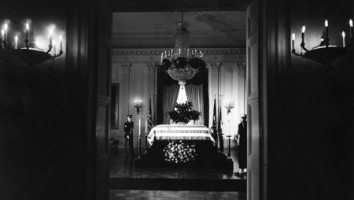 President John F Kennedys Casket (Courtesy of Abbie Rowe. White House Photographs. John F. Kennedy Presidential Library and Museum, Boston)