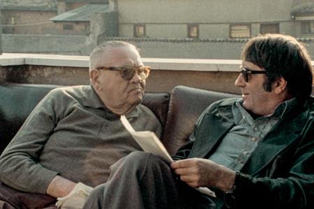 """Benjamin Murmelstein (left) talking to filmmaker Claude Lanzmann in """"The Last of the Unjust"""""""