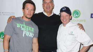 Rasha Drachkovitch with Mark and Paul Wahlberg