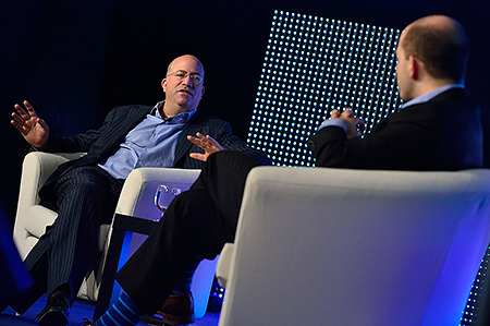 Jeff Zucker (left) at the 2014 Realscreen Summit, in conversation with Brian Stelter (right). Photo: Rahoul Ghose