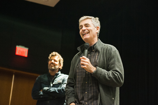 Steve James (right) and Sean Farnel (left) at a DOC Toronto masterclass. Photo by Ramya Jegatheesan