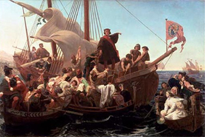 Christopher Columbus on the Santa Maria in 1492, in a painting by Emanuel Leutze. (public domain)