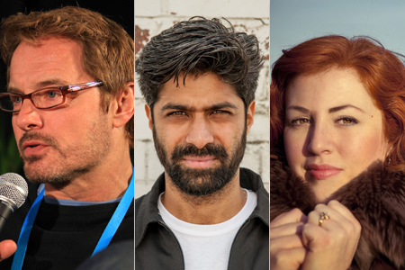 David Courier (left), Hussain Currihmbhoy (center) and Jeanie Finlay (right), who feature on Doc/Fest's 'Behind the Curtain Part 2'
