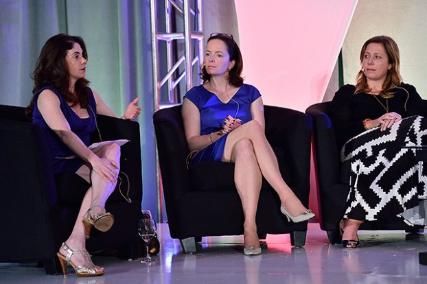 Moderator Nicole Page, HGTV's Allison Page and Pam Healey of Shed Media US talk gender and unscripted.