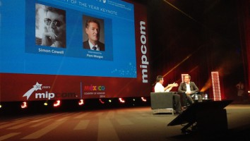 Simon Cowell and Piers Morgan in conversation at MIPCOM 2014. Photo: Adam Benzine