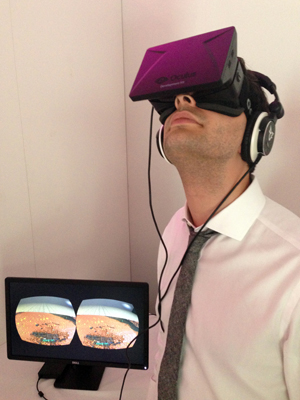 Realscreen's Adam Benzine tests the Oculus Rift headset at Sheffield Doc/Fest