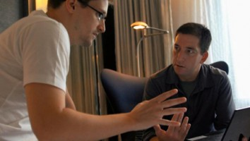 "Edward Snowden (left) and Glenn Greenwald in ""Citizenfour"""