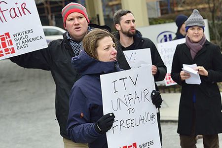 WGA East members protest outside the 2015 Realscreen Summit. Photo: Rahoul Ghose