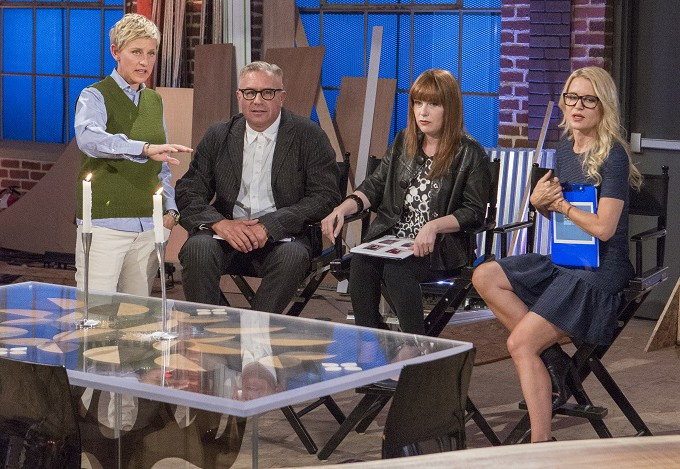 Ellen DeGeneres visits with guest judge Ray Azoulay and judges Amanda Dameron and Christiane Lemieux.