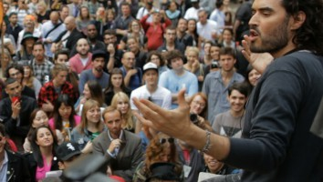 Russell Brand addresses a crowd of Occupy Wall Street protesters in Brand: A Second Coming.