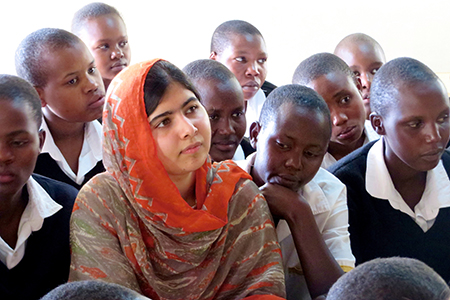 Malala Yousafzai (center) at the Kisaruni Girls School in Massai Mara, Kenya.