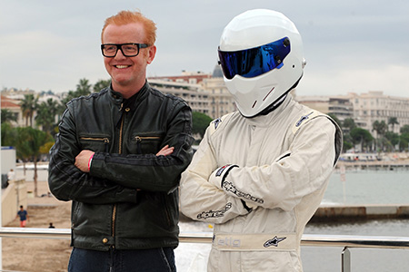 Top Gear host Chris Evans (left) with the Stig during the 31st annual MIPCOM market in Cannes.