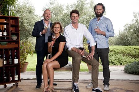 The Wine Show - Presenter Four Shot (l-r Joe Fattorini Amelia Singer Matthew Goode Matthew Rhys)