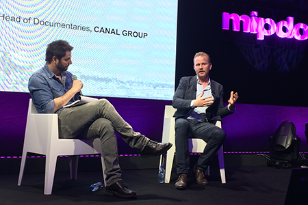 Following Spurlock's presentation, he was interview by Diego Buñuel, dead of documentaries for Canal Plus