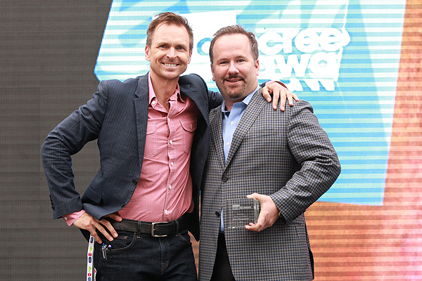 Keoghan with Realscreen Awards Hall of Fame inductee Brent Montgomery.